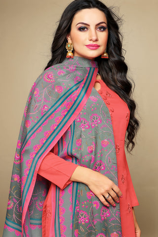 Cambric Cotton Straight Cut Top with Digital Printed Dupatta:atisundar Charismatic Peach Designer Straight Cut Embroidered Suits - 15845