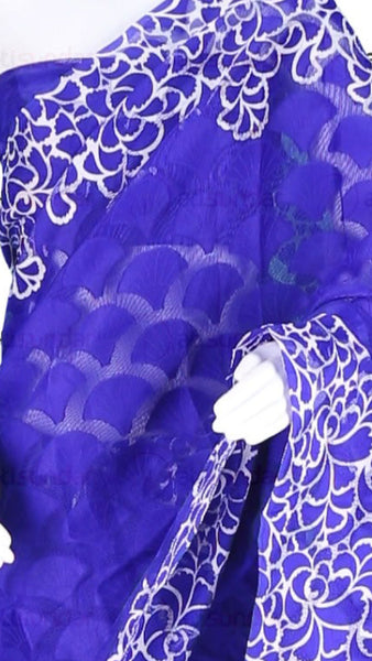 Designer Printed Saree:atisundar Beautiful Designer Printed Sarees In Net With Jecquard in Blue  - 10417 - atisundar - 34 - click to zoom