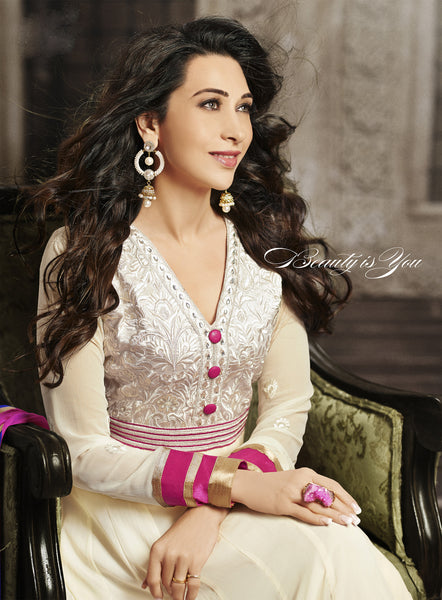 The Karishma Kapoor Collection:atisundar elegant White Blended Semi Pure Georgette Embroidered Anarkali - 6056 - atisundar - 3 - click to zoom