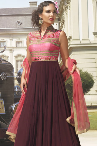 Designer Anarkali:atisundar fascinating Pink Designer Party Wear Anarkali - 12838