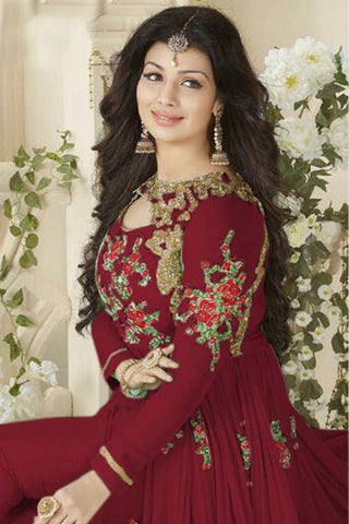 Designer Anarkali:atisundar charming Maroon Designer Party Wear Anarkali Featuring Ayesha Takia - 12604