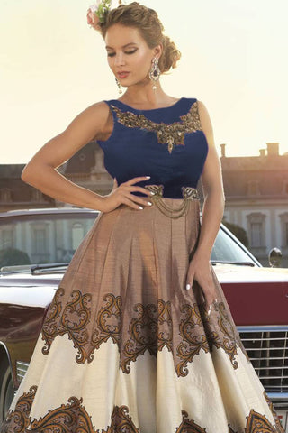 Designer Anarkali:atisundar beauteous Blue Designer Party Wear Anarkali - 12839