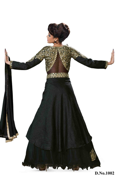 Designer Party Wear Lehenga:atisundar Alluring Shantoon Lehenga in Black - 7118 - atisundar - 3 - click to zoom