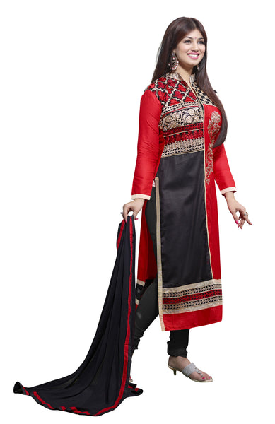 The Aayesha Takia Collection:atisundar beauteous Red And Black Designer Straight Cut  - 7391 - click to zoom