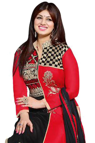 The Aayesha Takia Collection:atisundar beauteous Red And Black Designer Straight Cut  - 7391