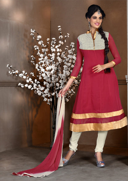 atisundar Sahana: Marvelous Unstitched Salwar Kameez In Pink - 4092 - click to zoom