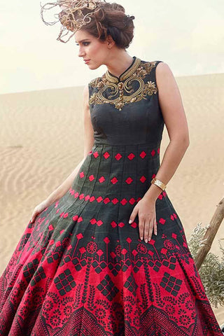 Designer Anarkali:atisundar beauteous Black Designer Party Wear Anarkali - 12848