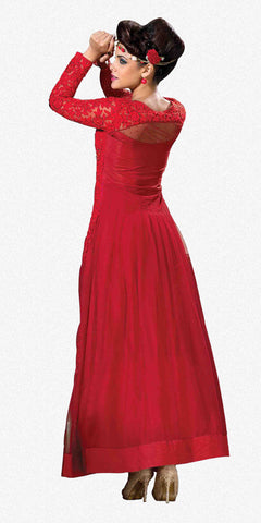 Designer Gowns!:atisundar Awesome Soft Net Designer Partywear Gowns in Red - 7056 - atisundar - 3 - click to zoom