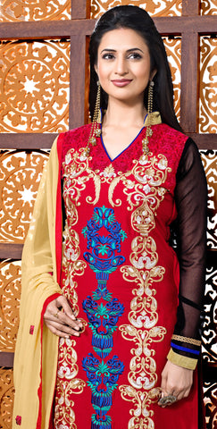 Designer Embroidered Straight Cut Suit Featuring Divyanka Tripathi:atisundar radiant Red And Black Designer Ready to Stitch Straight Cut Suit - 6398 - atisundar - 4