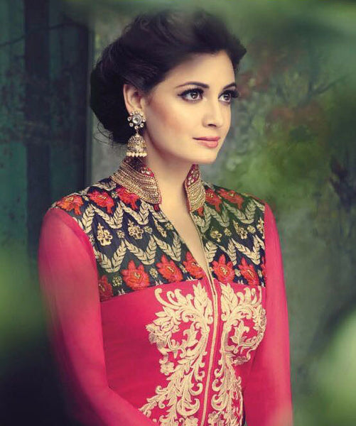 The Diya Mirza Collection:atisundar Beautiful Red Designer Embroidered Straight Cut Suits In Faux Georgette - 9687 - click to zoom