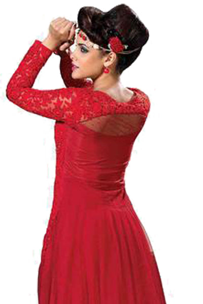 Designer Gowns!:atisundar Awesome Soft Net Designer Partywear Gowns in Red - 7056 - click to zoom