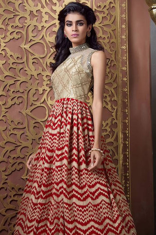 Designer Anarkali:atisundar lovely Cream Designer Party Wear Anarkali - 12852