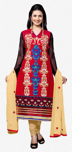 Designer Embroidered Straight Cut Suit Featuring Divyanka Tripathi:atisundar radiant Red And Black Designer Ready to Stitch Straight Cut Suit - 6398 - click to zoom