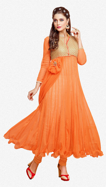 Designer Gown Style Suit:atisundar stunning Orange Anarkali - 7539 - atisundar - 2 - click to zoom