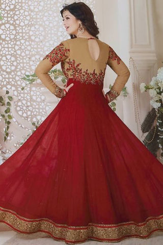Designer Anarkali:atisundar dazzling Red Designer Party Wear Anarkali Featuring Ayesha Takia - 12606