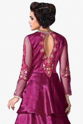 Designer Gowns!:atisundar Smart Japan Satin Designer Partywear Gowns in Purple - 7058