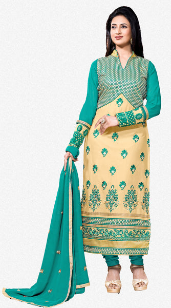 Designer Embroidered Straight Cut Suit Featuring Divyanka Tripathi:atisundar Attractive Green And Cream Designer Ready to Stitch Straight Cut Suit - 6400 - atisundar - 2 - click to zoom