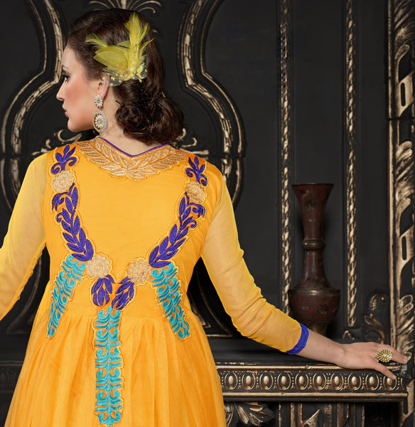 Gown Style Anarkali!:atisundar graceful Orange Anarkali - 7488 - atisundar - 2 - click to zoom