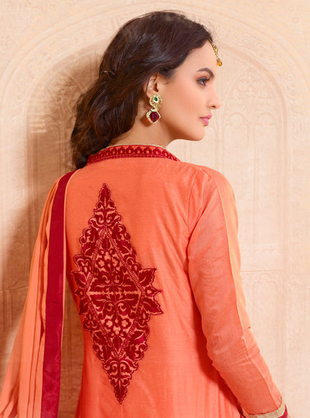 Designer Straight Cut:atisundar delightful Orange Designer Straight Cut  - 8331 - atisundar - 3 - click to zoom