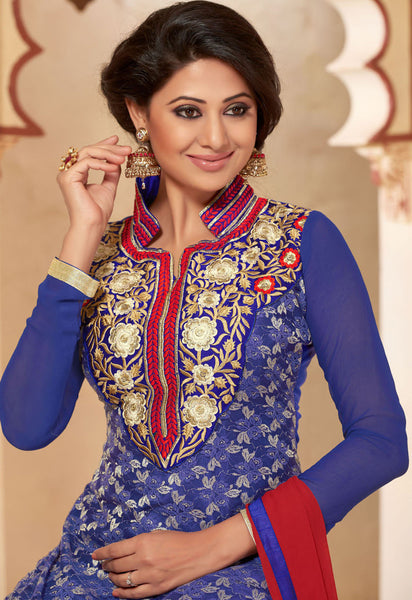 Designer Straighr Cut Suit:atisundar Beautiful Blue Designer Straight Cut  - 6682 - atisundar - 4 - click to zoom