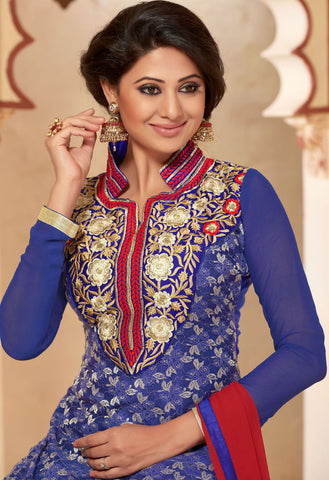 Designer Straighr Cut Suit:atisundar Beautiful Blue Designer Straight Cut  - 6682 - atisundar - 4