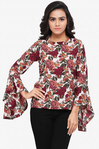 Designer Party Wear Top:Atisundar ravishing American Crepe top with rose Floral digital Print and Flute sleeves - 14046