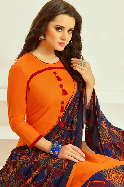 Cambric Cotton Straight Cut top with Embroidered Dupatta:atisundar marvelous Orange Designer Ready to Stitch Straight Cut Suit - 15590 - click to zoom