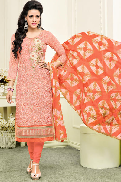 Designer Straight Cut:atisundar wonderful Orange Designer Straight Cut Suit In Chanderi Cotton - 10480 - atisundar - 4 - click to zoom