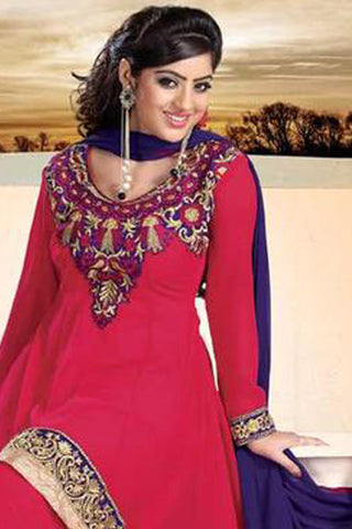 atisundar Parnika: Charismatic Unstitched Salwar Kameez In Red - 3449