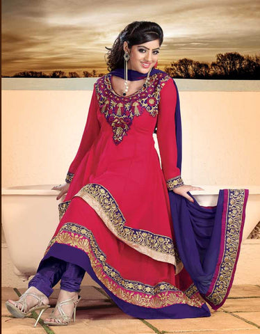 atisundar Parnika: Charismatic Unstitched Salwar Kameez In Red - 3449 - atisundar - 4 - click to zoom