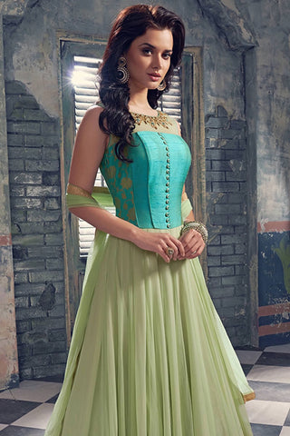 Designer Anarkali:atisundar comely Blue Designer Party Wear Anarkali - 12854