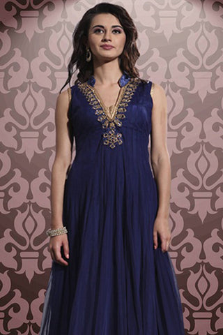 Designer Anarkali:atisundar radiant Blue Designer Party Wear Anarkali - 12856