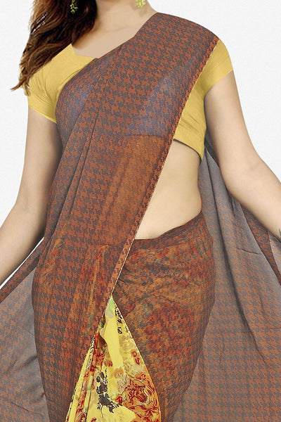Designer Saree:atisundar Superb Designer Saree in Faux Georgette in Yellow And Brown  - 11693 - click to zoom