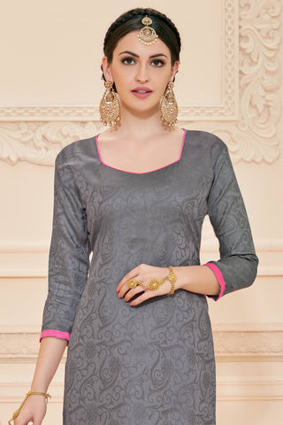 Designer Straight Cut:atisundar beauteous Grey Designer Straight Cut  - 12638