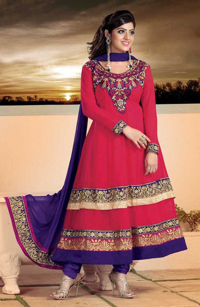 atisundar Parnika: Charismatic Unstitched Salwar Kameez In Red - 3449 - click to zoom
