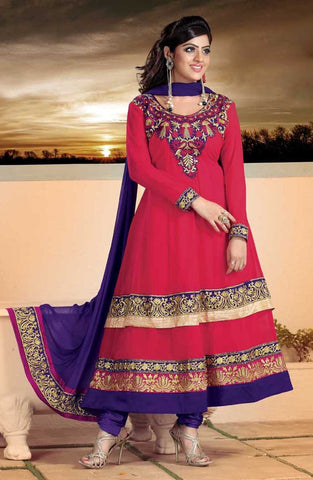 atisundar Parnika: Charismatic Unstitched Salwar Kameez In Red - 3449 - atisundar - 2 - click to zoom
