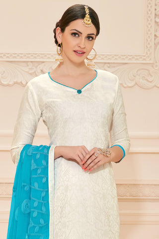 Designer Straight Cut:atisundar appealing White Designer Straight Cut  - 12639