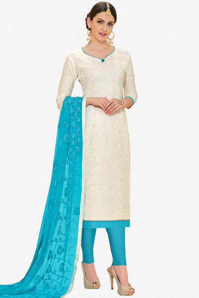Designer Straight Cut:atisundar appealing White Designer Straight Cut  - 12639 - click to zoom