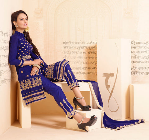 Designer Straight Cut:atisundar superb Blue Designer Straight Cut  - 8336 - atisundar - 3 - click to zoom