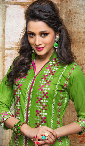 Designer Embroidered Straight Cut Suits:atisundar delicate Green Designer Embroidered Suits - 9826 - atisundar - 2