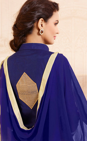 Designer Straight Cut:atisundar superb Blue Designer Straight Cut  - 8336 - atisundar - 4 - click to zoom