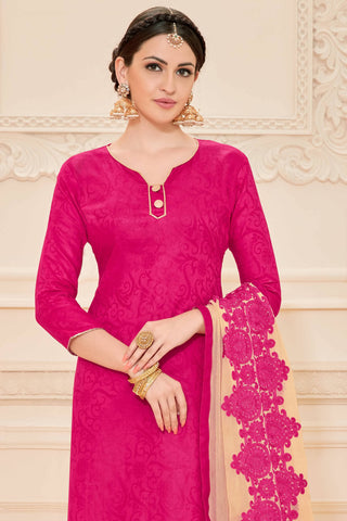 Designer Straight Cut:atisundar beauteous Pink Designer Straight Cut  - 12640