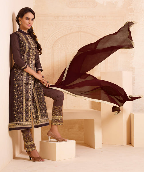 Designer Straight Cut:atisundar excellent Brown Designer Straight Cut  - 8337 - atisundar - 3 - click to zoom