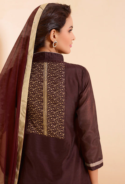 Designer Straight Cut:atisundar excellent Brown Designer Straight Cut  - 8337 - atisundar - 4 - click to zoom