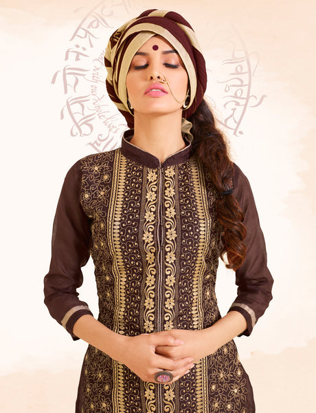 Designer Straight Cut:atisundar excellent Brown Designer Straight Cut  - 8337 - atisundar - 5 - click to zoom