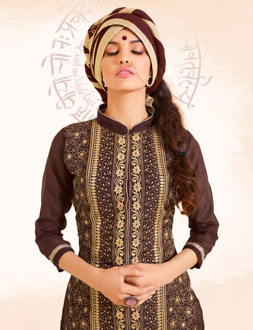 Designer Straight Cut:atisundar excellent Brown Designer Straight Cut  - 8337 - atisundar - 5