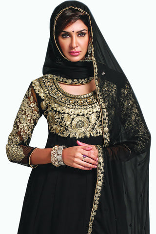Designer Anarkali:atisundar splendid Black Designer Party Wear Embroidered Anarkali - 11885 - atisundar - 2 - click to zoom