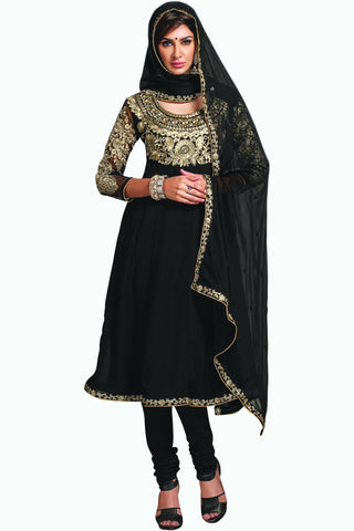 Designer Anarkali:atisundar splendid Black Designer Party Wear Embroidered Anarkali - 11885 - atisundar - 1 - click to zoom