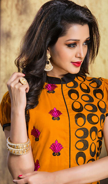 Designer Embroidered Straight Cut Suits:atisundar Charismatic Orange Designer Embroidered Suits - 9829 - atisundar - 2 - click to zoom