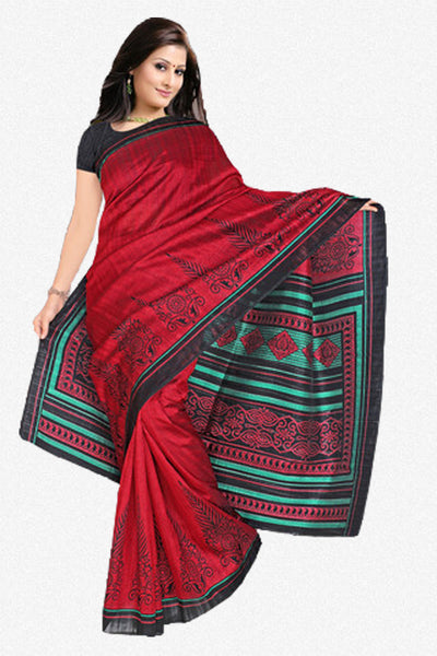Beautiful Red Colored Print Saree - atisundar - 1 - click to zoom